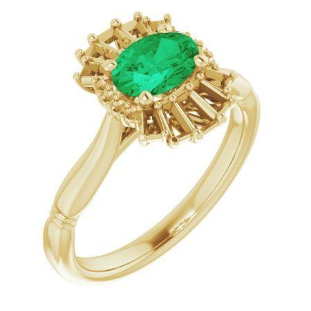 Genuine Emerald Ring in 14 Karat Yellow Gold Emerald & 1/4 Carat Diamond Ring