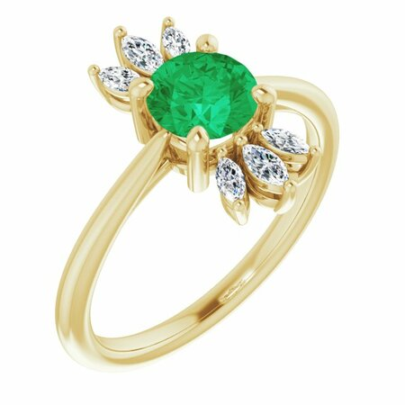 Genuine Emerald Ring in 14 Karat Yellow Gold Emerald & 1/4 Carat Diamond Ring