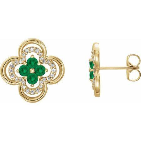 Genuine Emerald Earrings in 14 Karat Yellow Gold Emerald & 1/5 Carat Diamond Clover Earrings