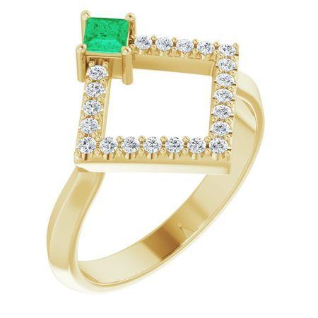 Genuine Emerald Ring in 14 Karat Yellow Gold Emerald & 1/5 Carat Diamond Geometric Ring
