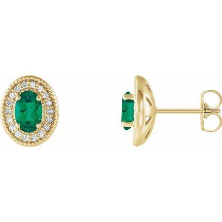 Genuine Emerald Earrings in 14 Karat Yellow Gold Emerald & 1/5 Carat Diamond Halo-Style Earrings