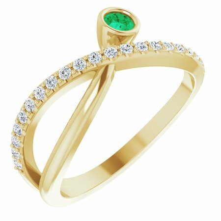 Genuine Emerald Ring in 14 Karat Yellow Gold Emerald & 1/5 Carat Diamond Ring