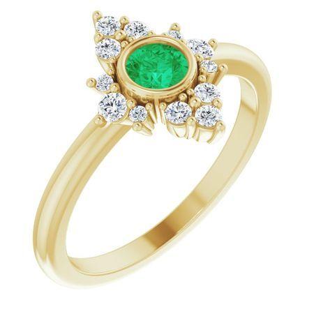 Genuine Emerald Ring in 14 Karat Yellow Gold Emerald & 1/5 Carat Diamond Ring