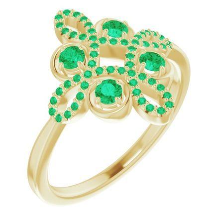 Genuine Emerald Ring in 14 Karat Yellow Gold Emerald & 1/6 Carat Diamond Clover Ring
