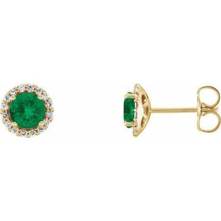Genuine Emerald Earrings in 14 Karat Yellow Gold Emerald & 1/6 Carat Diamond Earrings