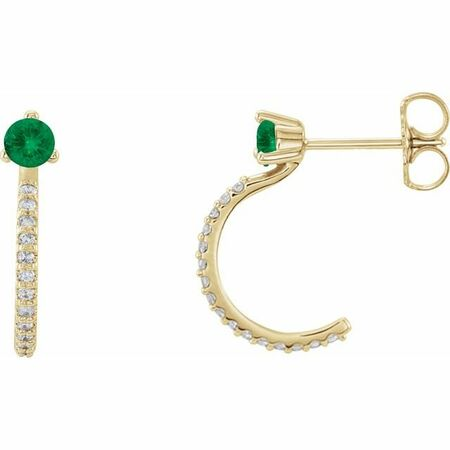 Genuine Emerald Earrings in 14 Karat Yellow Gold Emerald & 1/6 Carat Diamond Hoop Earrings