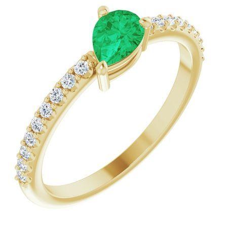 Genuine Emerald Ring in 14 Karat Yellow Gold Emerald & 1/6 Carat Diamond Ring