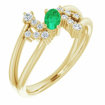 Genuine Emerald Ring in 14 Karat Yellow Gold Emerald & 1/8 Carat Diamond Bypass Ring