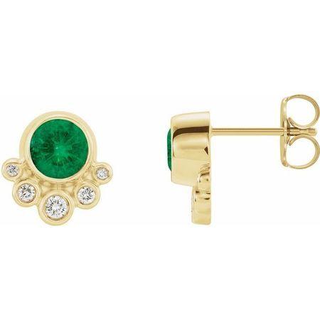 Genuine Emerald Earrings in 14 Karat Yellow Gold Emerald & 1/8 Carat Diamond Earrings