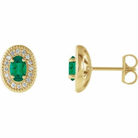 Genuine Emerald Earrings in 14 Karat Yellow Gold Emerald & 1/8 Carat Diamond Halo-Style Earrings