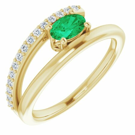 Genuine Emerald Ring in 14 Karat Yellow Gold Emerald & 1/8 Carat Diamond Ring