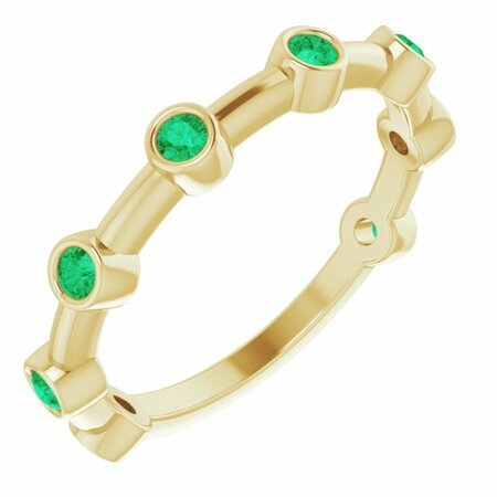 Genuine Emerald Ring in 14 Karat Yellow Gold Emerald Bezel-Set Bar Ring
