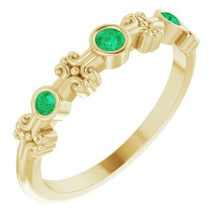Genuine Emerald Ring in 14 Karat Yellow Gold Emerald Bezel-Set Ring