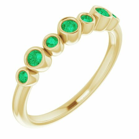 Genuine Emerald Ring in 14 Karat Yellow Gold Emerald Bezel-Set Ring