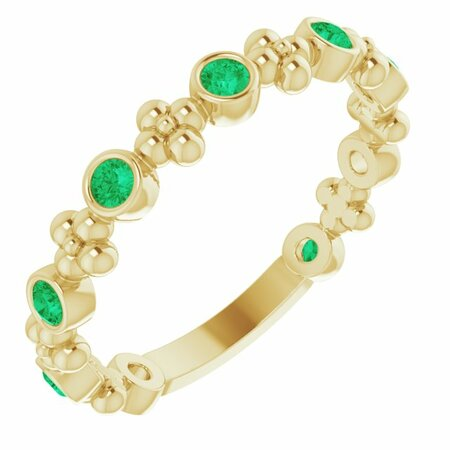 Genuine Emerald Ring in 14 Karat Yellow Gold Emerald Garnet Beaded Ring