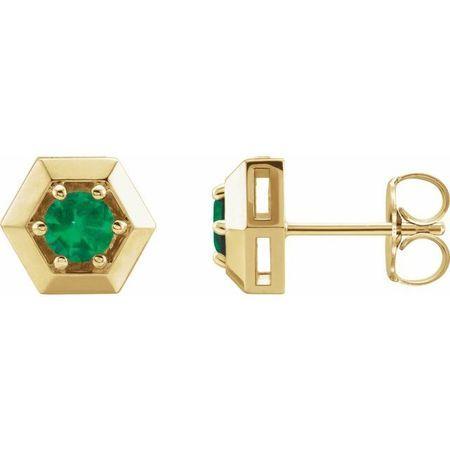 Genuine Emerald Earrings in 14 Karat Yellow Gold Emerald Geometric Earrings