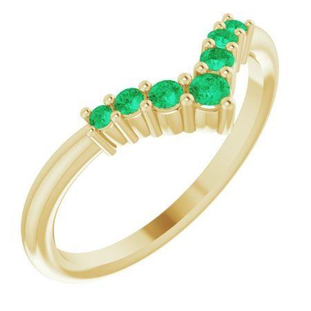 Genuine Emerald Ring in 14 Karat Yellow Gold Emerald Graduated