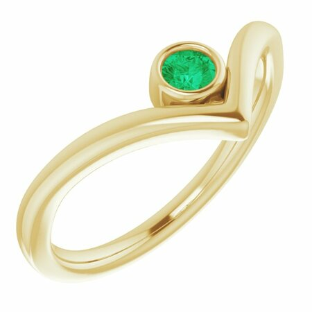 Genuine Emerald Ring in 14 Karat Yellow Gold Emerald Solitaire Bezel-Set