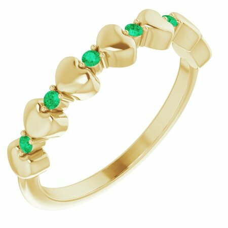 Genuine Emerald Ring in 14 Karat Yellow Gold Emerald Stackable Heart Ring