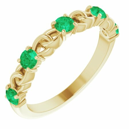 Genuine Emerald Ring in 14 Karat Yellow Gold Emerald Stackable Link Ring