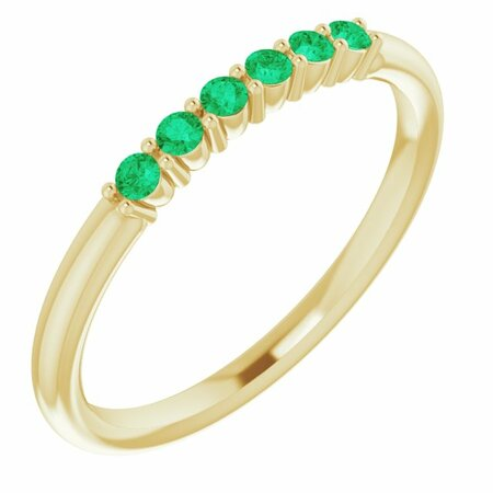 Genuine Emerald Ring in 14 Karat Yellow Gold Emerald Stackable Ring