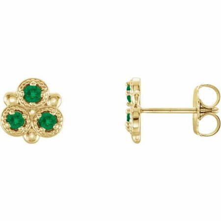 Genuine Emerald Earrings in 14 Karat Yellow Gold Emerald Three-Stone Earrings
