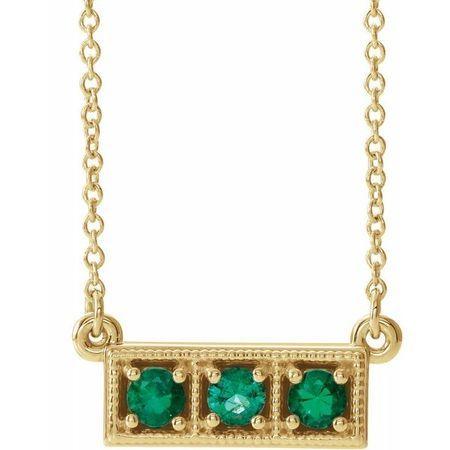 Genuine Emerald Necklace in 14 Karat Yellow Gold Emerald Three-Stone Granulated Bar 16-18