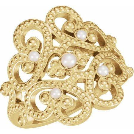 Natural Pearl Ring in 14 Karat Yellow Gold Granulated Design Cultured Pearl Ring