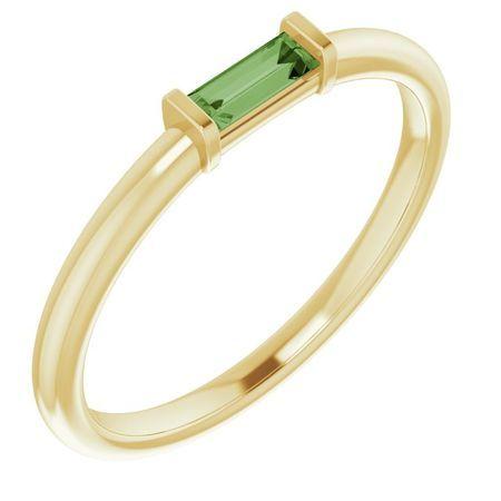 Pink Tourmaline Ring in 14 Karat Yellow Gold Green Tourmaline Stackable Ring