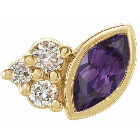14 Karat Yellow Gold Grown Alexandrite & .03 Carat Weight Diamond Right Earring