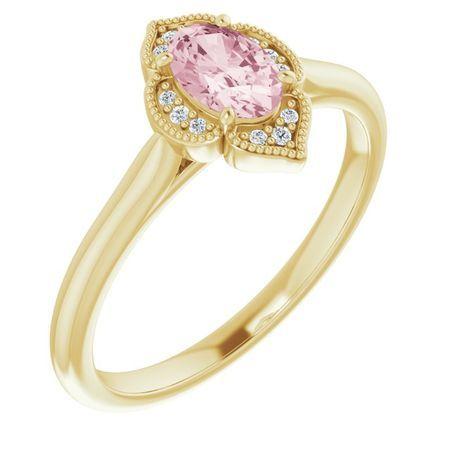 Pink Morganite Ring in 14 Karat Yellow Gold Morganite & .03 Carat Diamond Ring