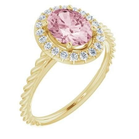 Pink Morganite Ring in 14 Karat Yellow Gold Morganite & 1/6 Carat Diamond Ring