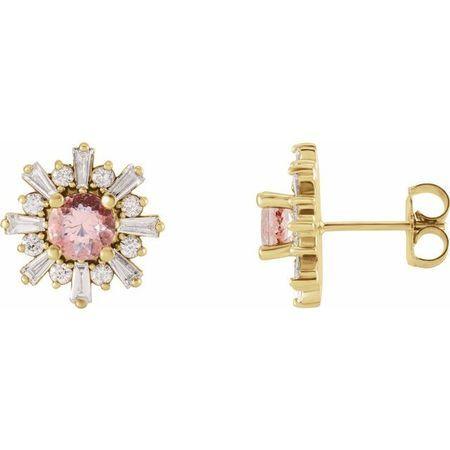 Pink Morganite Earrings in 14 Karat Yellow Gold Morganite & 3/4 Carat Diamond Earrings