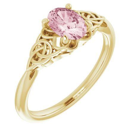 Pink Morganite Ring in 14 Karat Yellow Gold Morganite Celtic-Inspired Ring