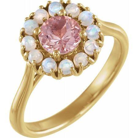 Pink Morganite Ring in 14 Karat Yellow Gold Morganite & Ethiopian Opal Halo-Style Ring