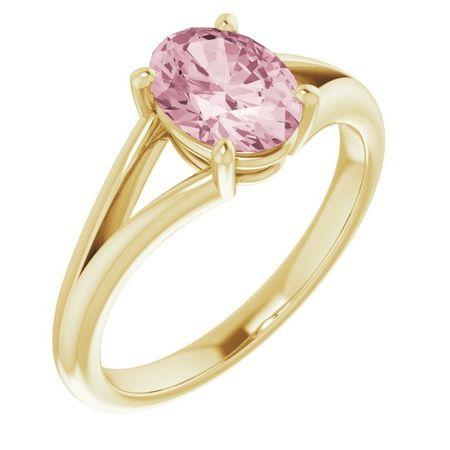 Pink Morganite Ring in 14 Karat Yellow Gold Morganite Ring