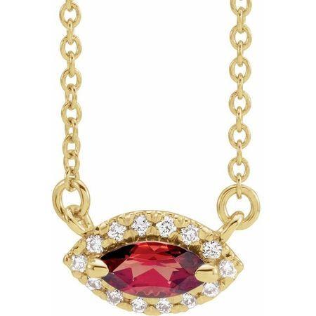 Red Garnet Necklace in 14 Karat Yellow Gold Mozambique Garnet & .05 Carat Diamond Halo-Style 16