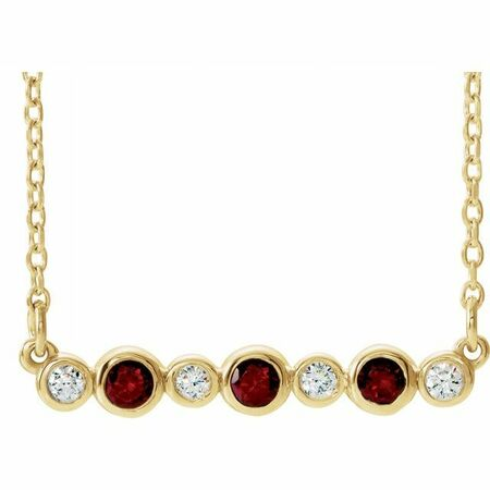 Red Garnet Necklace in 14 Karat Yellow Gold Mozambique Garnet & .08 Carat Diamond Bezel-Set Bar 16-18