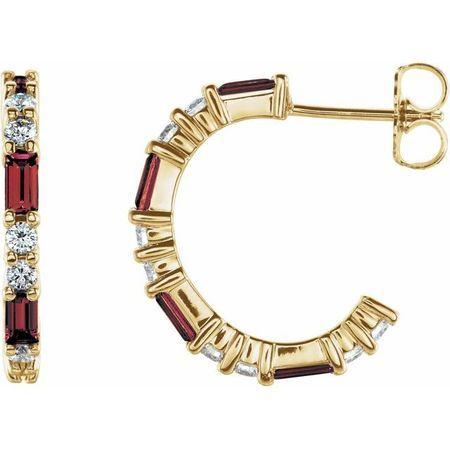 Red Garnet Earrings in 14 Karat Yellow Gold Mozambique Garnet & 1/2 Carat Diamond Earrings