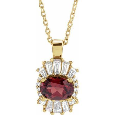 Red Garnet Necklace in 14 Karat Yellow Gold Mozambique Garnet & 1/3 Carat Diamond 16-18