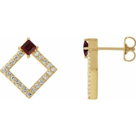 Red Garnet Earrings in 14 Karat Yellow Gold Mozambique Garnet & 1/3 Carat Diamond Earrings