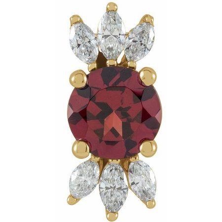 Red Garnet Pendant in 14 Karat Yellow Gold Mozambique Garnet & 1/4 Carat Diamond Pendant