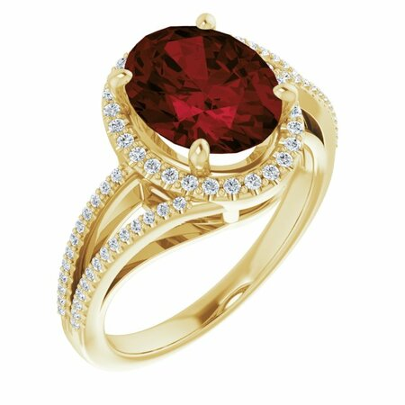 Red Garnet Ring in 14 Karat Yellow Gold Mozambique Garnet & 1/4 Carat Diamond Ring