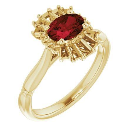 Red Garnet Ring in 14 Karat Yellow Gold Mozambique Garnet & 1/4 Carat Diamond Ring