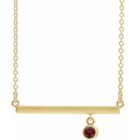 Red Garnet Necklace in 14 Karat Yellow Gold Mozambique Garnet Bezel-Set 16
