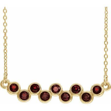 Red Garnet Necklace in 14 Karat Yellow Gold Mozambique Garnet Bezel-Set Bar 16-18