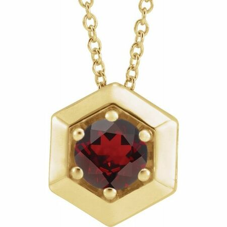 Red Garnet Necklace in 14 Karat Yellow Gold Mozambique Garnet Geometric 16-18