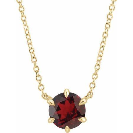 Red Garnet Necklace in 14 Karat Yellow Gold Mozambique Garnet Solitaire 18