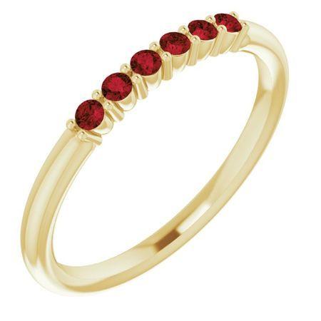 Red Garnet Ring in 14 Karat Yellow Gold Mozambique Garnet Stackable Ring
