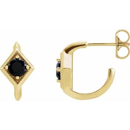 Black Black Onyx Earrings in 14 Karat Yellow Gold Onyx Geometric Hoop Earrings